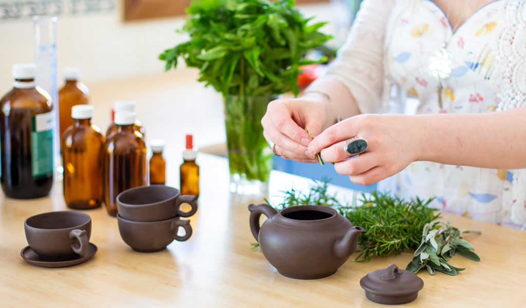 Karla Rawles, Naturopath, making herbal tea