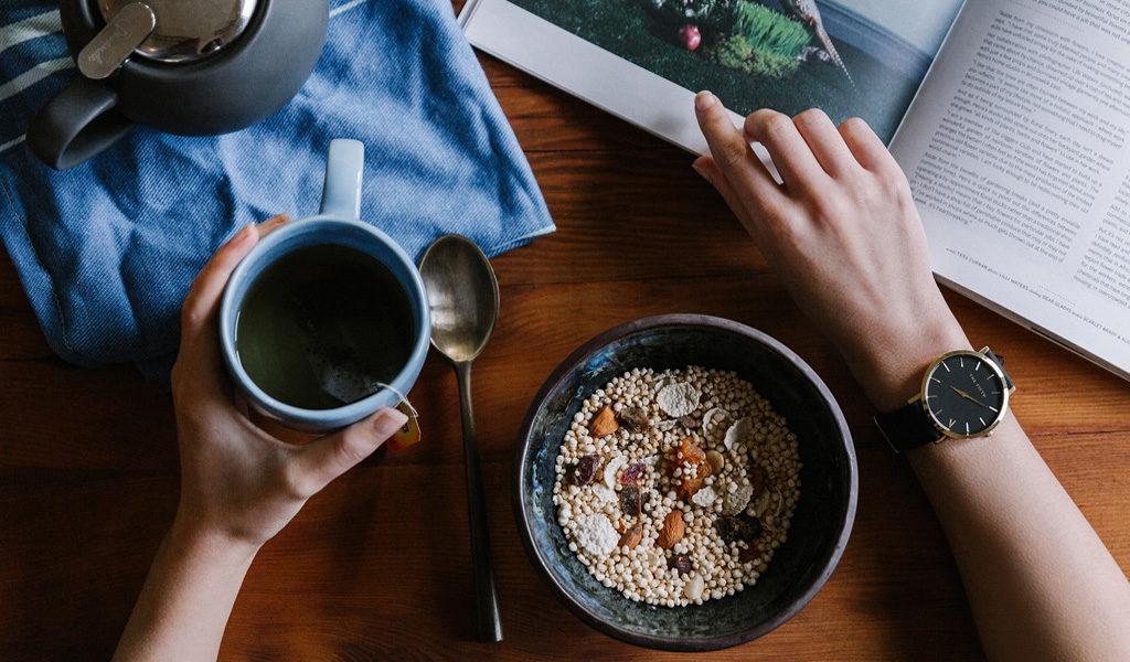 Breakfast table with muesli